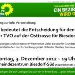 """Einladung zur Infoveranstaltung. """"Planungen zum Bau der TVO und drohende Enteignungen in Biesdorf"""""""
