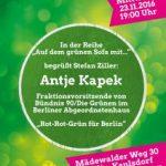 Einladung: Antje Kapek im Gespräch über die neue Koalition für Berlin auf dem grünen Sofa in Kaulsdorf
