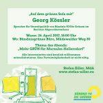 Einladung: Georg Kössler im Gespräch über neue Bäume und Umweltpolitik auf dem grünen Sofa in Kaulsdorf