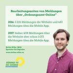 """Bearbeitungszeiten von Meldungen über """"Ordnungsamt-Online"""""""