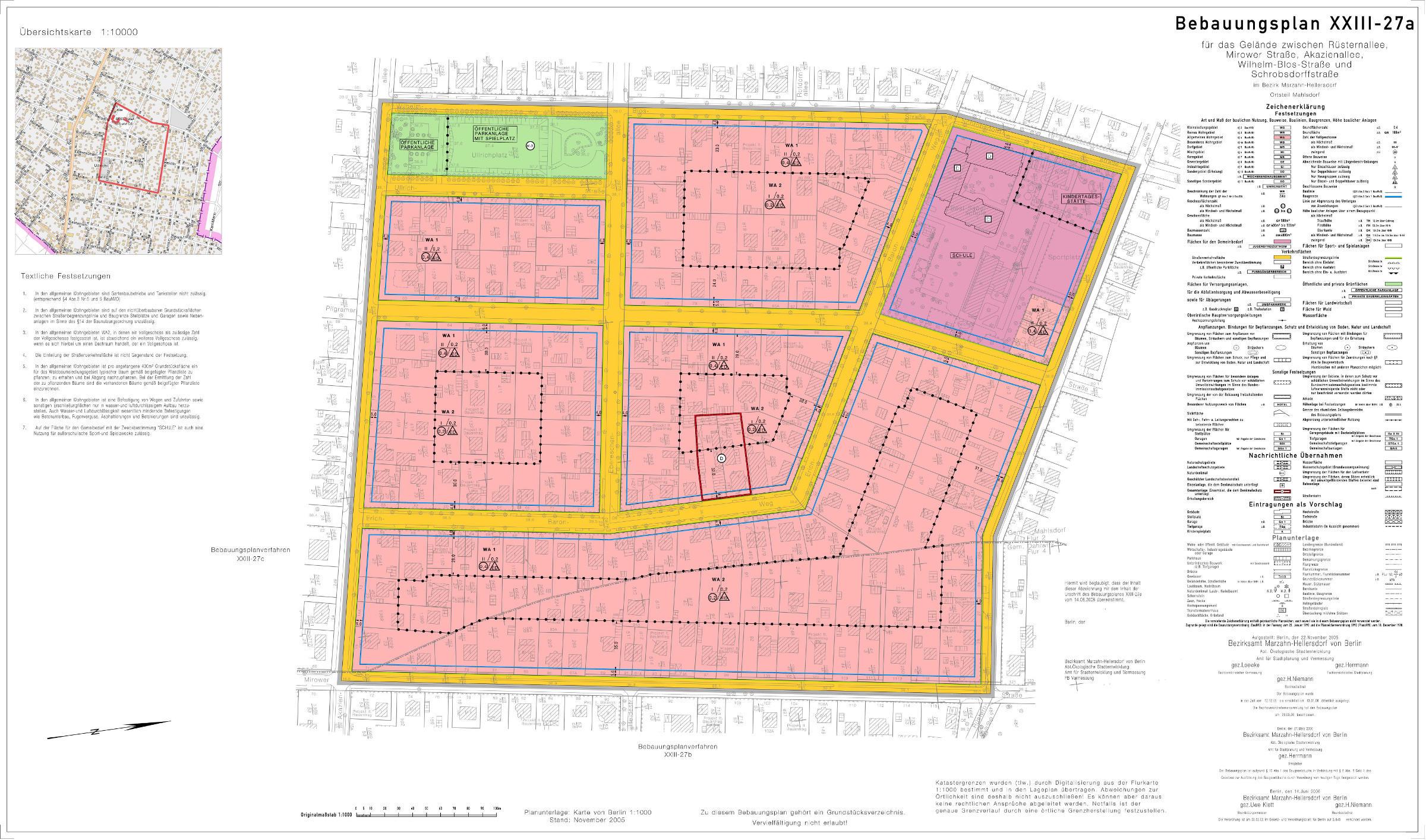 Planzeichnung des Bebauungsplans XXIII-27a